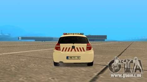 BMW 120i E87 de la Police hongroise pour GTA San Andreas sur la vue arrière gauche