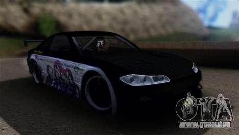 Nissan Silvia S15 K-on Itasha pour GTA San Andreas sur la vue arrière gauche