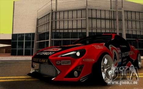 Toyota GT86 ZeroZver pour GTA San Andreas sur la vue arrière gauche