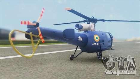 Indian Navy CHETAK Heli Skin pour GTA San Andreas laissé vue