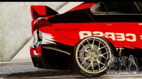 Mitsubishi Lancer Evo X Nunes pour GTA San Andreas sur la vue arrière gauche