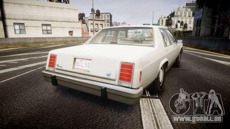 Ford LTD Crown Victoria 1987 Detective [ELS] pour GTA 4 Vue arrière de la gauche