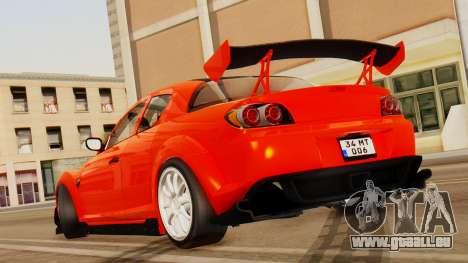 Mazda RX8 Drifter pour GTA San Andreas sur la vue arrière gauche