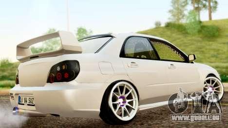 Subaru Impreza WRX STI Stance pour GTA San Andreas sur la vue arrière gauche