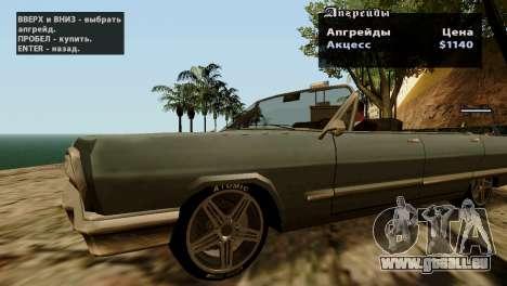 Roues de GTA 5 v2 pour GTA San Andreas quatrième écran