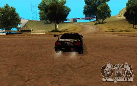 Nissan Skyline GT-R R34 für GTA San Andreas zurück linke Ansicht