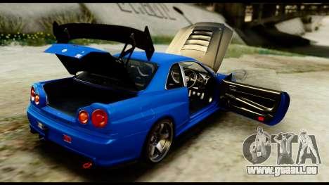 Nissan Skyline GT-R (BNR34) Tuned pour GTA San Andreas vue intérieure