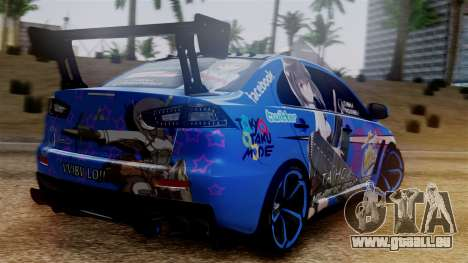 Mitsubishi Lancer Evolution X Taihou Itasha pour GTA San Andreas laissé vue
