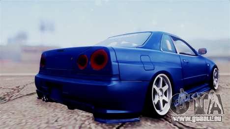Nissan Skyline R34 pour GTA San Andreas laissé vue