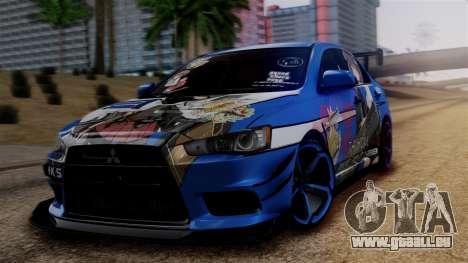 Mitsubishi Lancer Evolution X Taihou Itasha pour GTA San Andreas
