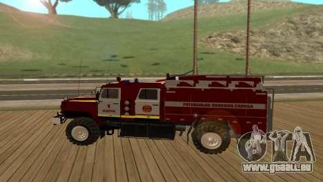 Ural 5557-40 das Ministerium von Notsituationen  für GTA San Andreas linke Ansicht