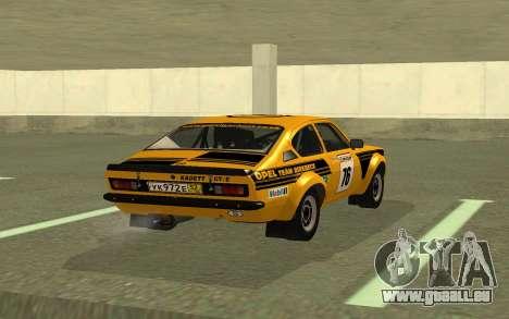 Opel Kadett Rally für GTA San Andreas zurück linke Ansicht
