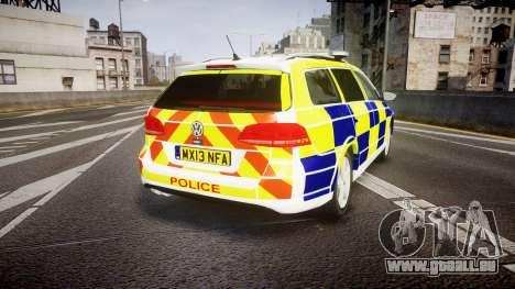 Volkswagen Passat B7 North West Police [ELS] pour GTA 4 Vue arrière de la gauche