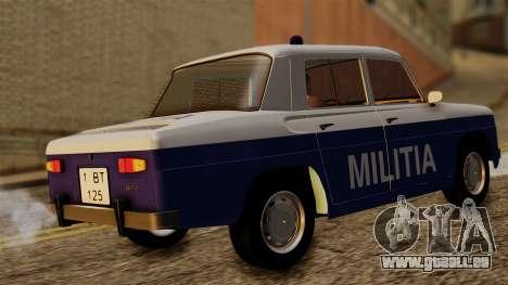 Dacia 1100 Militia pour GTA San Andreas sur la vue arrière gauche