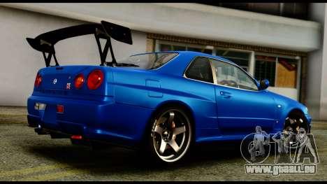 Nissan Skyline GT-R (BNR34) Tuned für GTA San Andreas linke Ansicht