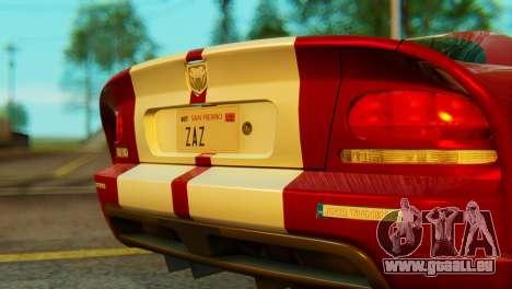 Dodge Viper SRT10 pour GTA San Andreas vue arrière