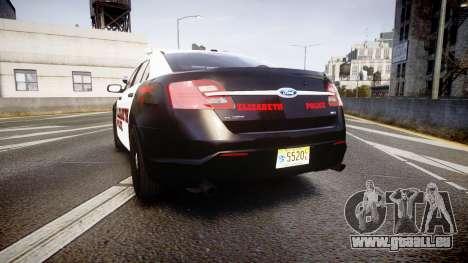 Ford Taurus 2010 Elizabeth Police [ELS] für GTA 4 hinten links Ansicht