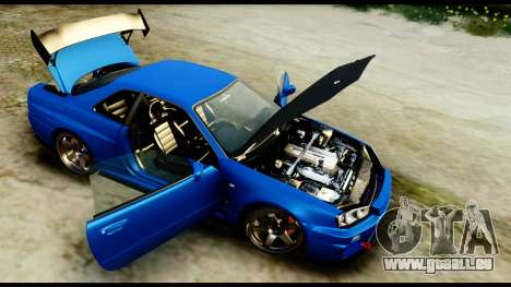 Nissan Skyline GT-R (BNR34) Tuned pour GTA San Andreas vue arrière