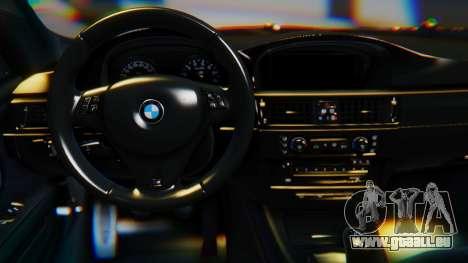 BMW M3 E92 2008 pour GTA San Andreas sur la vue arrière gauche