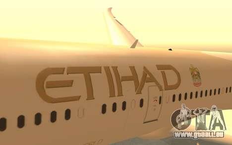 Boeing 787-9 Etihad Airways für GTA San Andreas rechten Ansicht