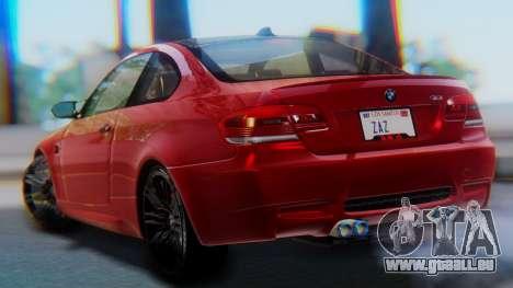 BMW M3 E92 2008 pour GTA San Andreas laissé vue