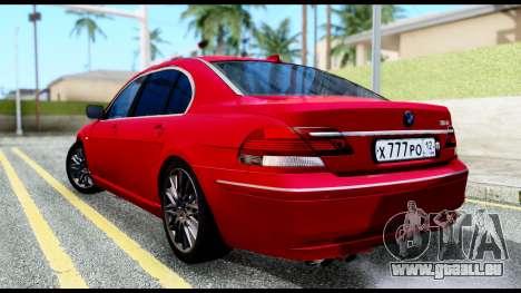 BMW 760Li E66 pour GTA San Andreas laissé vue