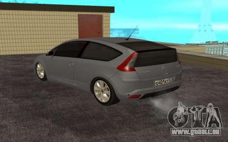 Citroen C4 pour GTA San Andreas sur la vue arrière gauche