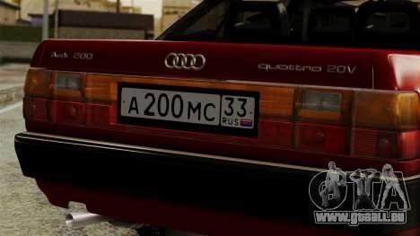 Audi 200 Quattro für GTA San Andreas Rückansicht