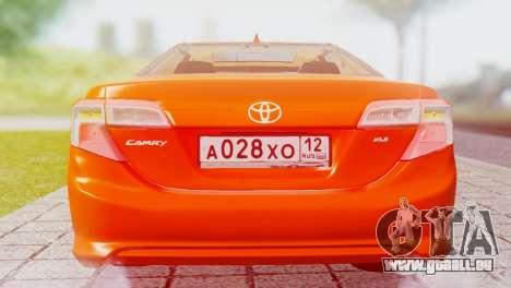 Toyota Camry 2012 für GTA San Andreas rechten Ansicht