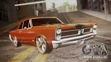 Pontiac GTO 1965 für GTA San Andreas zurück linke Ansicht