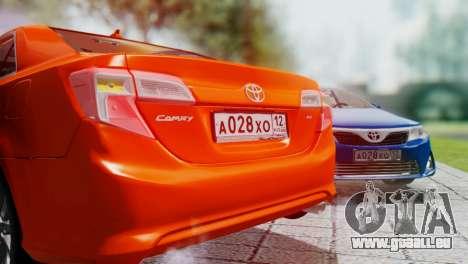 Toyota Camry 2012 pour GTA San Andreas vue intérieure