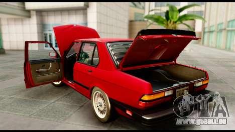BMW M5 E28 1985 NA-spec für GTA San Andreas Innenansicht
