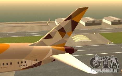 Boeing 787-9 Etihad Airways für GTA San Andreas zurück linke Ansicht