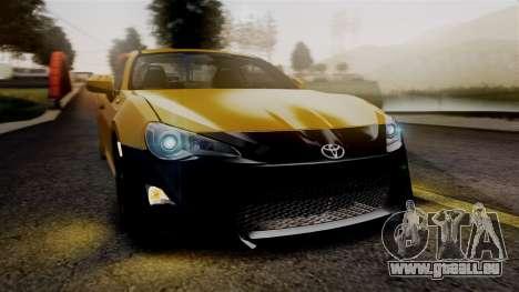 Toyota GT86 PJ pour GTA San Andreas vue intérieure