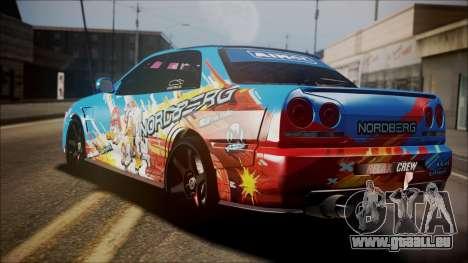 Nissan Skyline ER34 Duck Attack Team pour GTA San Andreas laissé vue