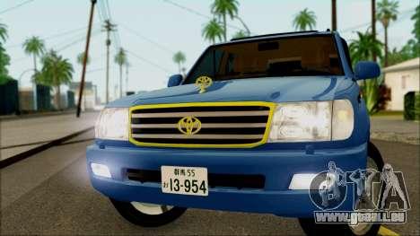 Toyota Land Cruiser 100 UAE Edition pour GTA San Andreas sur la vue arrière gauche