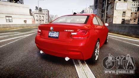 BMW M235i pour GTA 4 Vue arrière de la gauche