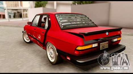BMW M5 E28 1985 NA-spec für GTA San Andreas Unteransicht