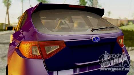Subaru Impreza WRX STI 2008 pour GTA San Andreas sur la vue arrière gauche