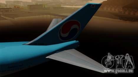 Boeing 747 Korean Air pour GTA San Andreas sur la vue arrière gauche