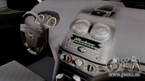 Chevrolet Aveo Taxi Poza Rica pour GTA San Andreas vue de droite