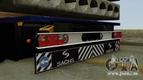 Flatbed3 Blue pour GTA San Andreas vue de droite