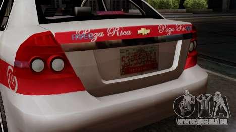 Chevrolet Aveo Taxi Poza Rica für GTA San Andreas Rückansicht