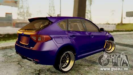 Subaru Impreza WRX STI 2008 pour GTA San Andreas laissé vue