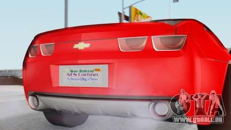 NFS Carbon Chevrolet Camaro pour GTA San Andreas vue arrière