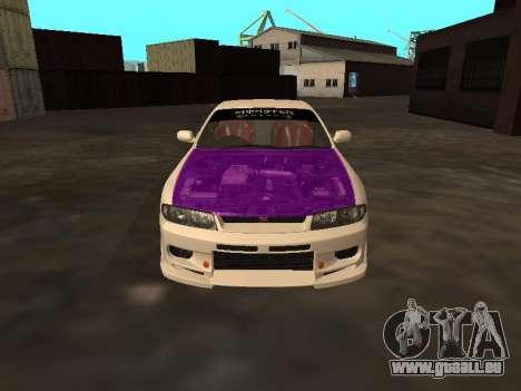 Nissan Skyline R33 Drift Monster Energy JDM für GTA San Andreas obere Ansicht