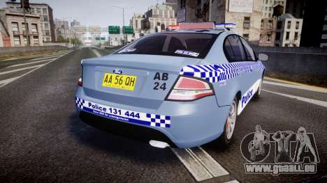Ford Falcon FG XR6 Turbo NSW Police [ELS] v2.0 pour GTA 4 Vue arrière de la gauche