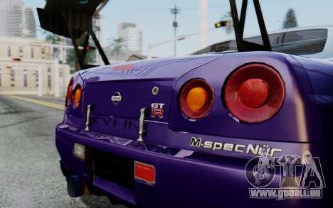 Nissan Skyline GT-R R34 Battle Machine für GTA San Andreas zurück linke Ansicht