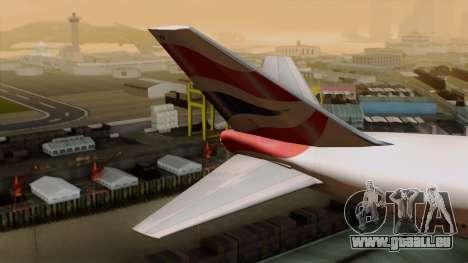 Boeing 747 British für GTA San Andreas zurück linke Ansicht