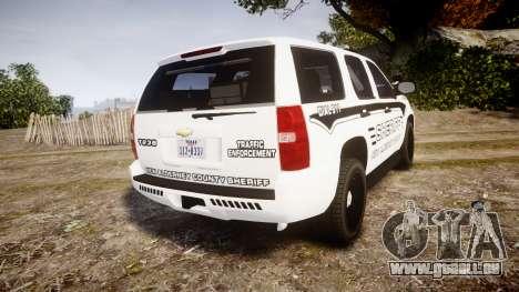 Chevrolet Tahoe 2013 New Alderney Sheriff [ELS] pour GTA 4 Vue arrière de la gauche